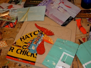 I cut up part of an old sign advertising a device used hatch chicks.
