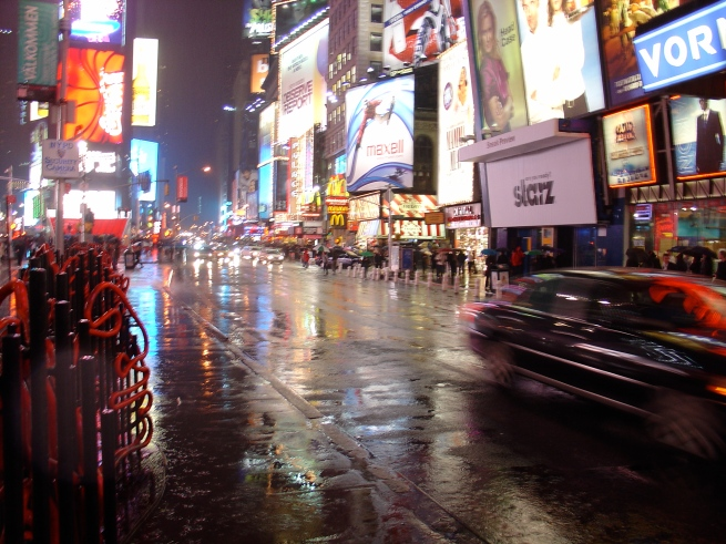Rainy night in Times Square.