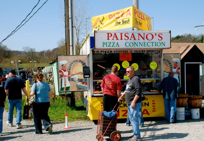 Paisano's! The BEST pizza at Rogers, or ANY flea market!