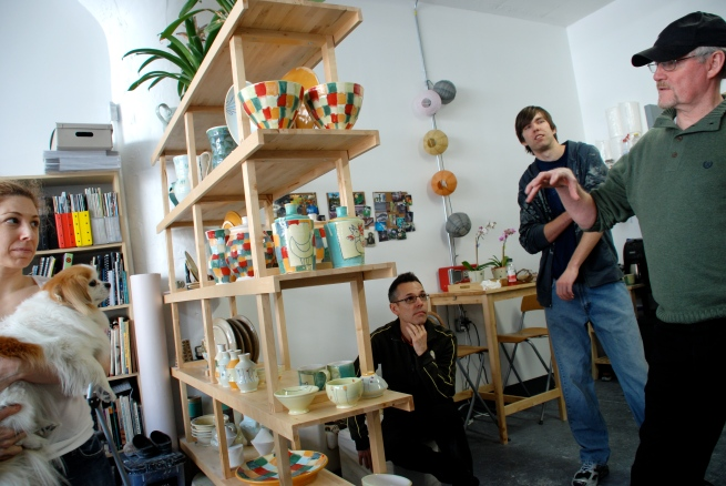 Eve Behar and part of our group in her studio.