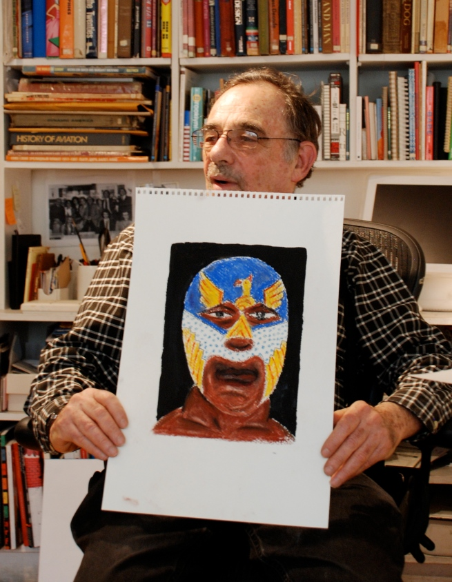 Seymour Chwast with one of his recent Mexican wrestler pieces.