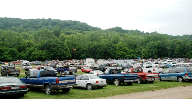 View of the flea market from the parking area.
