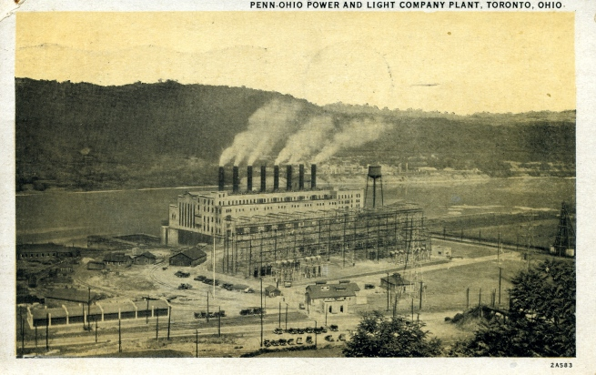 1920's era postcard of the power plant in the the north end of Toronto, Ohio.