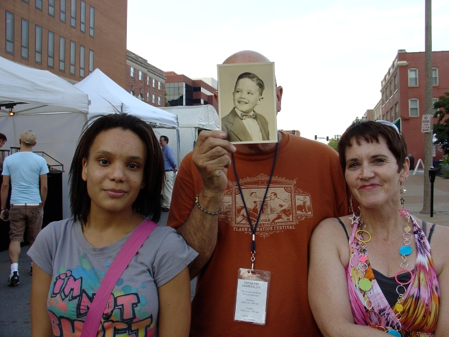 Jasmisne, me (holding a photo of myself at age five), and Diane.