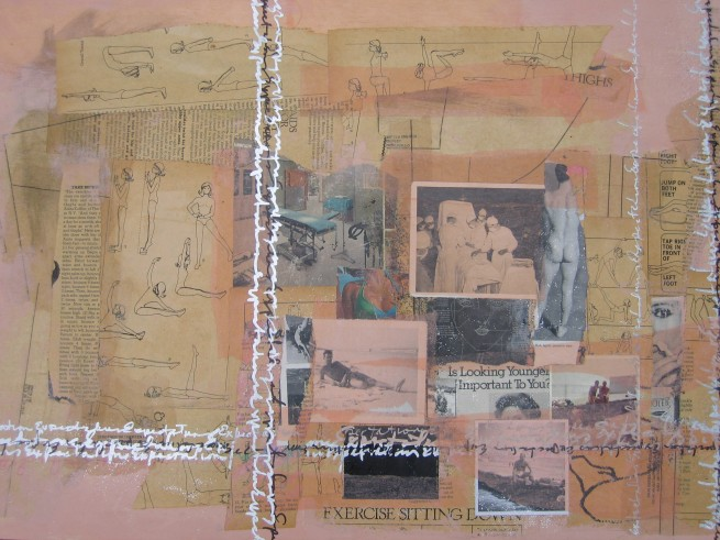 """Expectations"", by Nancy Tirone, mixed media collage on panel."