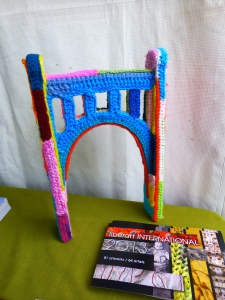 An example of the what the Warhol Bridge will look like when it is completely yarn-bombed this summer!