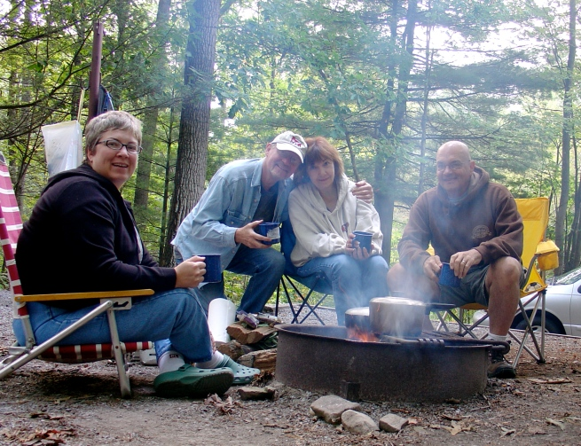 Paul, Janice Barnett, Chris, and I camping at Seneca Rocks, WV.