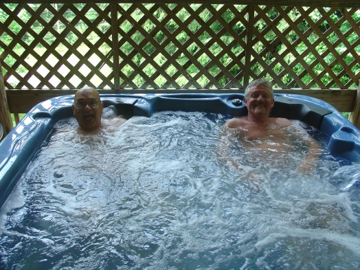 My wife, Chris, took this photo of Padge and I discussing the art world as we enjoy a hot tub near Hocking Hills, Ohio.