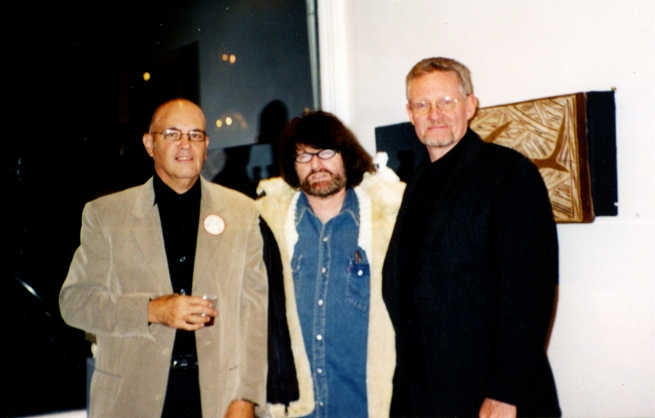 "I probably had few dozen exhibition openings of my own work during the time I knew Padge, and I believe he attended every one. Here we are at my opening of ""I've Seen You Naked"" at Penn Gallery in Pittsburgh, along with artist and friend Howard Lieberman."