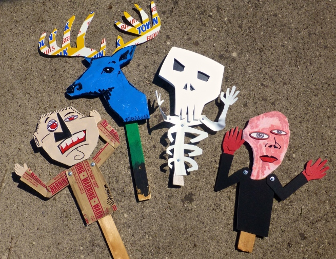 "The ""Mixed-Media Art on a Stick"" examples I made for the workshop."