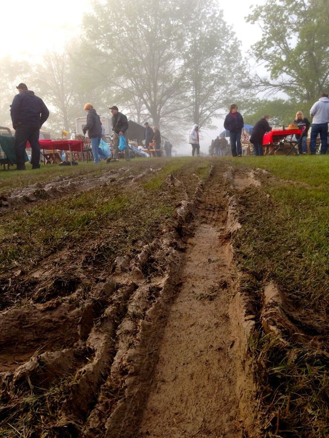 The early morning at the Bull Creek Fleatique was a bit muddy.